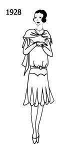 Sketch of woman wearing a dress with godets set in the hem in 1928.