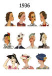 C20th Hair Styles & Hats Images Fashion History 1936
