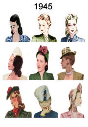 1940-1945 Pictures of Hairstyles and Hats in 1940s Fashion History