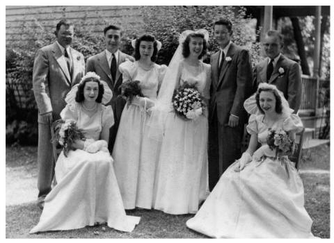 Wedding photo taken in New York State July 11, 1946 and is of John and Esther Anderson and their bridal party.