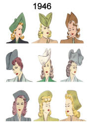 Picture of C20th Hair Styles & Hats Fashion History 1946 Costume History