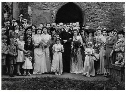 Late 1940s Post WWII Wedding Group and Bride and Groom 1947