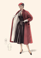 1955 Red Contrast Lined Coat With Shoulder Tucks