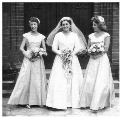 Late 1950s Bride with Bridesmaids Wedding Group 1958