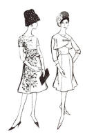 1962 Princess skirts on dresses and Empire line  cover up bolero jacket.