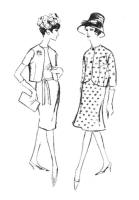 1962 Short boxy bolero jackets and straight or A-line skirt.