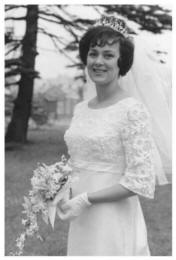 1965 wedding - Pat at her white wedding at St. Martin's Church Caerphilly