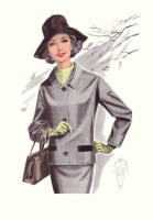1965 Business Suit - Fashion History Drawings of the 1960s