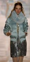 BLUGIRL Aqua satin jacket with matching fox scarf