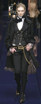 Dolce & Gabbana -  Black coat with mink fringe