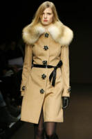 Caramel wool coat with jewelled buttons and fox collar - 2006 Fashion History