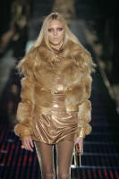 GUCCI - Horizontal gold fox jacket with crocodile.