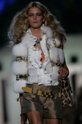 Horizontal white fox fur vest gold leather trim Roberto Cavalli