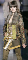 Paisley jacket with mink collar layered look from Just Cavalli