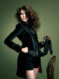 Velvet frock coat �85 worn with corduroy hot pants �22.