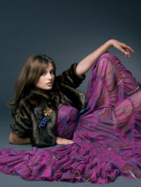 Left - Mink faux fur cropped jacket �50,Tiered printed chiffon baby doll dress �60