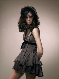 Mink chiffon dress.