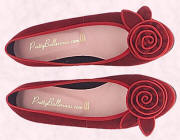 Marilyn red suede flower ballerina shoes from prettyballerinas.com