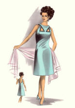 C20th Fashion History Image - Aqua Keyhole A-line Dress c1964 - 1967