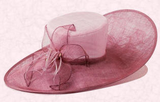 John Lewis Sinamay hat with lily and feathers, in pink icing and rose at �175.