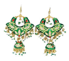 Lac jewellery earrings with green and red enamel.
