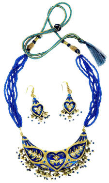 Necklace collars and pendants  from west Rajasthan made made using the traditional Indian lac jewellery technique.