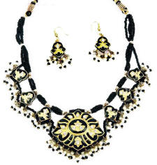 Necklace collars and pendants  from west Rajasthan. This has been made maade made using the traditional Indian lac jewellery technique.