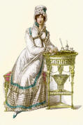 Ackermann's Repository of the Arts Fashion Plate 1819. Morning dress of embroidered clear lawn.