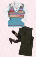 This fair isle V-neck knit from Boden has been paired with wide slouchy trousers.