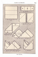 Napery. Picture of stages of a napkin fold in the style of mitre.