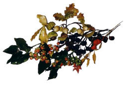 Picture of autumnal berries, chestnuts and hypericum in sugarcraft paste.