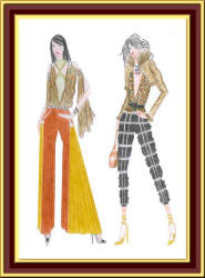 Cropped trousers and flared trouser fashion designs by Carrie