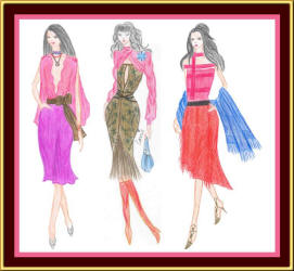 Feminine skirts and hot colours - fashion designs by Carrie