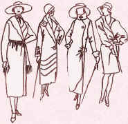 Drawing of 4 wrapover coats showing style progression. Costume history and  fashion history in the 1920s