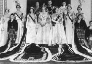 The Queen and her reltives all wearing their Coronation regalia.