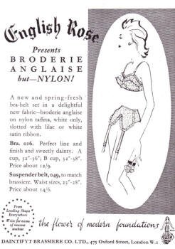 Alternative undies - bra and suspender belt.  English Rose Bra & Suspender Belt 1953