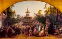 Painting of a scene at Cremorne Gardens. Costume history painting.