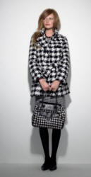 Debehams black and white houndstooth check ensemble. Red Herring dogtooth shift dress �28, John by John Richmond dogtooth checked coat �100, J by Jasper Conran Limited Edition dogtooth tote bag �125, dogtooth tights �6, Mood black bead necklace �15, Collection black cut out pumps �35.