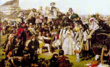 fashion history painting of Derby Day. Costume history painting