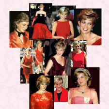 Montage of Princess Diana's photographs in various red outfits. Costume History, fashion history.