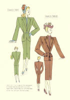 c1948  Fashion Designs - Sewing Pattern Cutting Drafts 2 - 3021 and 3022