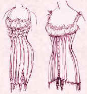 Picture of  2 longer line corsets from 1909 and 1916.