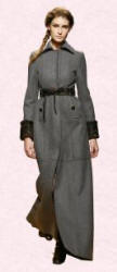 Long Maxi Coat. Alberta Ferretti grey maxi coat - 2006 Fashion History