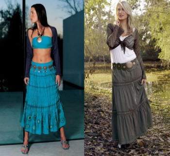 Two different Boho, gypsy, tiered, flouncy, crinkled peasant skirts!