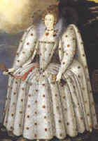 Picture of Queen Elizabeth I in white jewel encrusted dress.