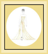 Fashion sketch of yellow evening dress.