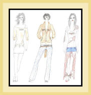 fashion sketch of 3 women in mixed outfits.