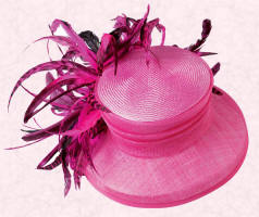 Pari-sinamay with chinchilla coque feathers, fuchsia hat is £195 and available from May at John Lewis.