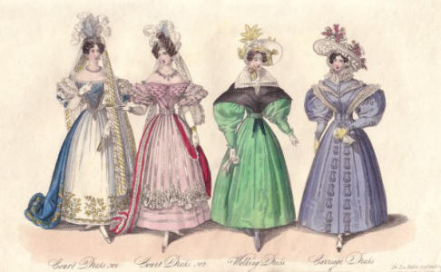 La Belle Assembl�e fashion plate 2 court dresses on the far left, a green walking dress and a blue carriage dress.
