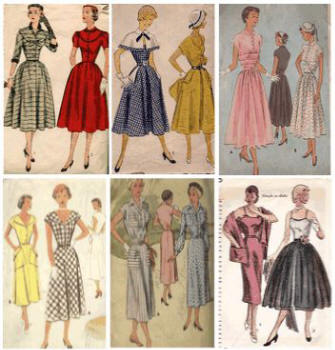 6 pattern covers of typicals 1950s fashion sewing patterns.